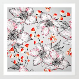 Red And Grey Floral Pattern Art Print