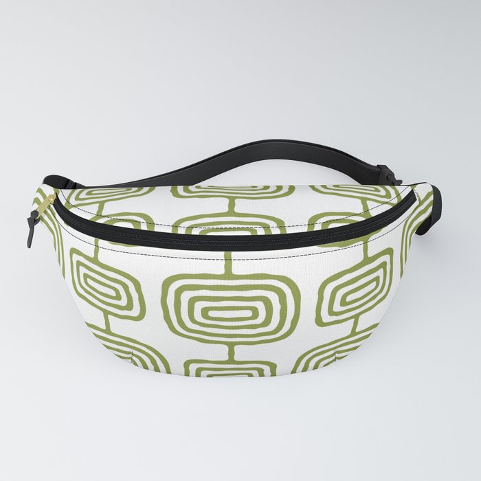 Mid Century Modern Atomic Rings Pattern Olive Green 3 Fanny Pack