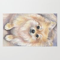 pomeranian Area & Throw Rugs featuring Pomeranian Watercolor Pom Painting by Olechka