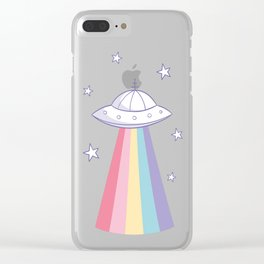 Colorful rainbow space ufo Clear iPhone Case