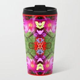 Modern Fuchsia Flowers Still Life Abstract Travel Mug