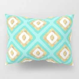 Gold & Turquoise Ikat Pattern Pillow Sham