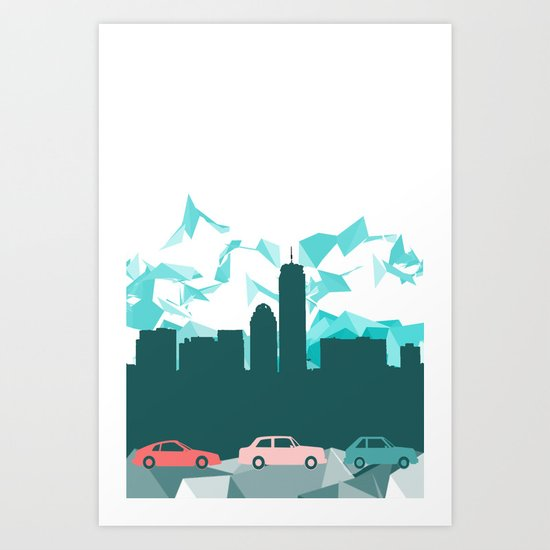 City, mountain and cars Art Print