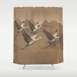 Cranes Flying Over Mongolia Shower Curtain