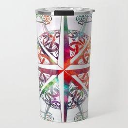 Travellers Spirit Colourful Celtic Travel Adventure Compass Design Travel Mug