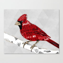 Cardinal Bird Lost Loved One Visiting Canvas Print