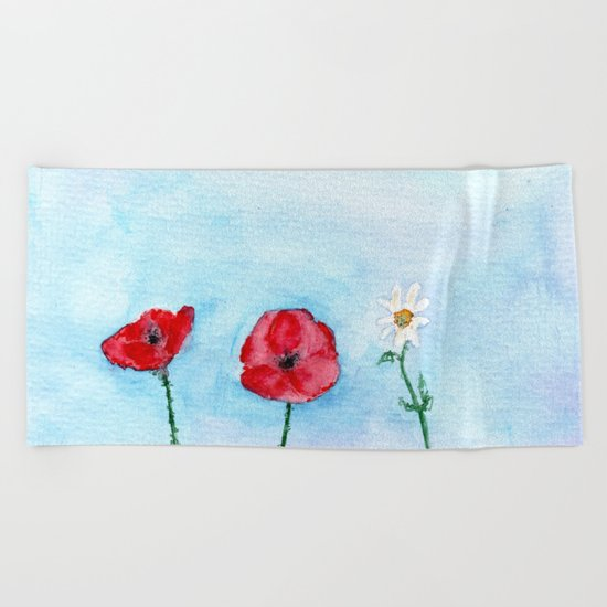 Two poppies and a daisy || watercolor Beach Towel