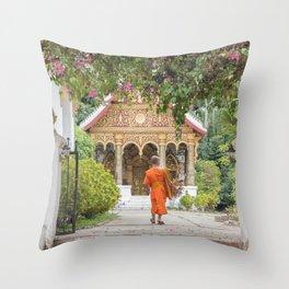 Luang Prabang Monk Throw Pillow