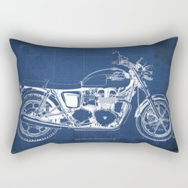 2010 Triumph Bonneville SE, motorcycle blueprint, husbands gift, offer, original poster, fathers day Rectangular Pillow