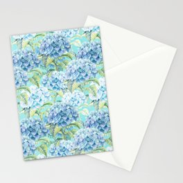 Blue floral hydrangea flower flowers Vintage watercolor pattern Stationery Cards
