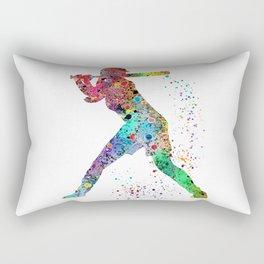 Baseball Softball Player Sports Art Print Watercolor Print Girl's softball Rectangular Pillow