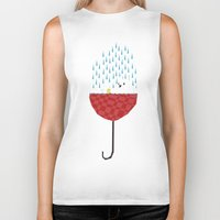 tiffany Biker Tanks featuring umbrella bath time! by Yetiland