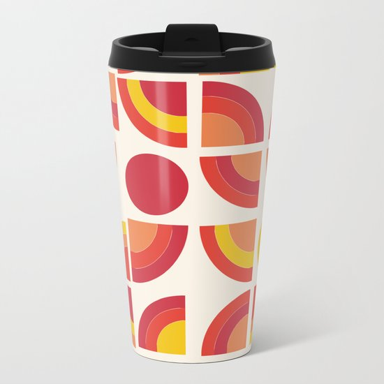 Boogie - abstract retro minimalist 70s 1970s style pattern art 70's 1970's Metal Travel Mug