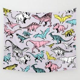 Pastel Dinosaurs Wall Tapestry