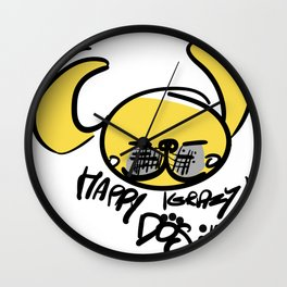 Yellow Dog Year Wall Clock