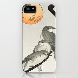 Birds sitting on kaki tree - Japanese vintage woodblock print iPhone Case
