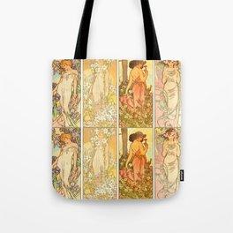 "Alphonse Mucha ""The Flowers (series): Iris, Lily, Carnation, Rose"" Tote Bag"
