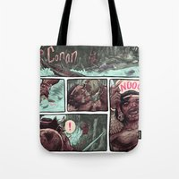 conan Tote Bags featuring Conan by Logan  Faerber