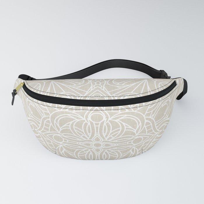 White Lace Mandala on Antique Ivory Linen Background Fanny Pack