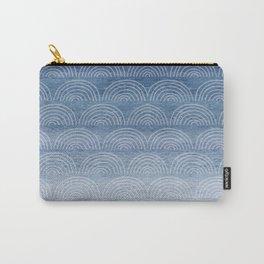 Blue Ombre Shibori Style Pattern, Indigo, Rainbow Pattern, Blue Sky Carry-All Pouch