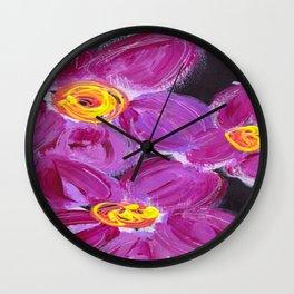 Purple Floral Wall Clock