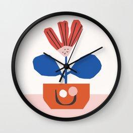 Happy Little Flower Pot   Colorway No 2 Wall Clock