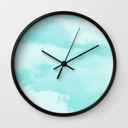 Turquoise white teal modern clouds pattern Wall Clock
