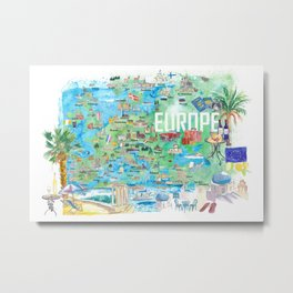 Europe Illustrated Travel Map with Tourist Highlights and Attractions Metal Print