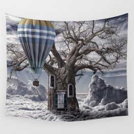 Home tree up in the clouds Wall Tapestry