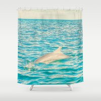 dolphin Shower Curtains featuring Dolphin by nikki-e