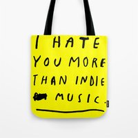 indie Tote Bags featuring INDIE MUSIC by WASTED RITA
