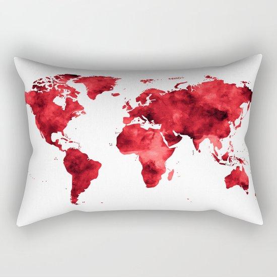 World Map Red Paint Rectangular Pillow