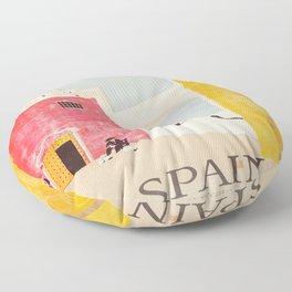 Spain Vintage Travel Poster Mid Century Minimalist Art Floor Pillow