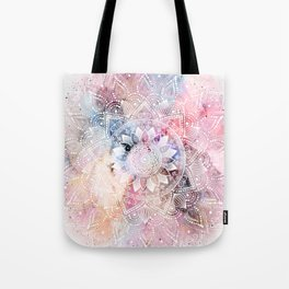 Whimsical white watercolor mandala design Tote Bag