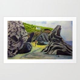 Llangrannog beach, Wales Art Print