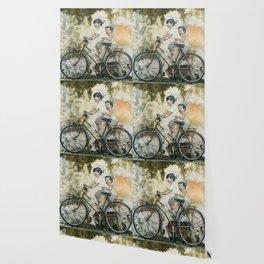 Children Ride Bicycle Graffiti Wallpaper