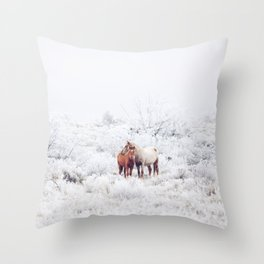 Two Winter Horses Throw Pillow