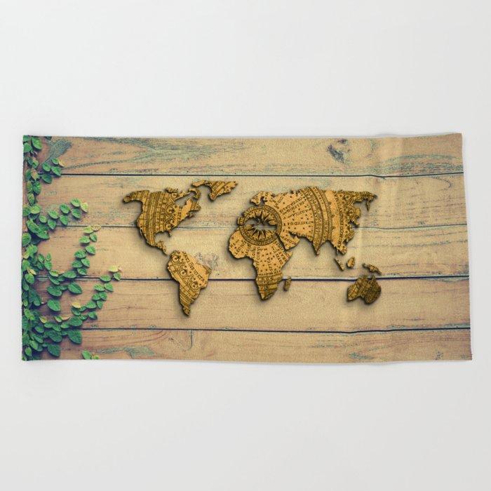 Vintage World Map Beach Towel