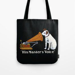 Retro his master's voice, Nipper the Dog Tote Bag