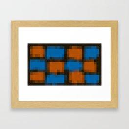orange blue and black pixel background Framed Art Print