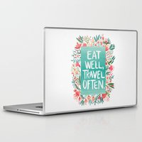eat Laptop & iPad Skins featuring Eat Well, Travel Often Bouquet  by Cat Coquillette