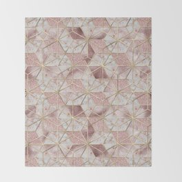 Modern rose gold geometric star flower pattern Throw Blanket