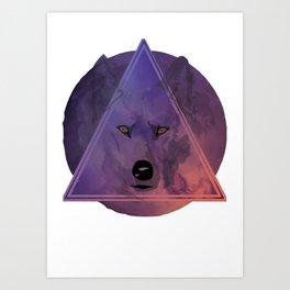 Wolf Head With Moon/Galaxy Design PURPLE Art Print