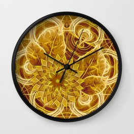 Mysterious glowing kaleidoscope and flower Wall Clock