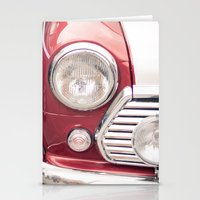 mini cooper Stationery Cards featuring Red Mini Cooper by Oy Photography