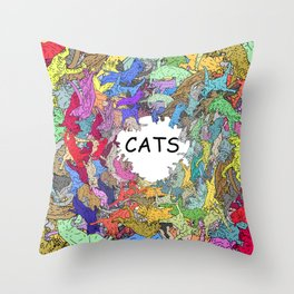 Colorful Rainbow Cats Throw Pillow