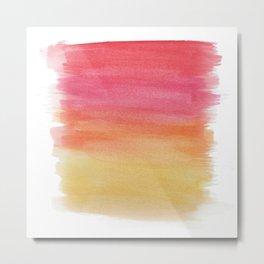 Red Watercolor Brush Strokes Metal Print
