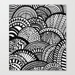 Black Tropical Ethnic Print Canvas Print