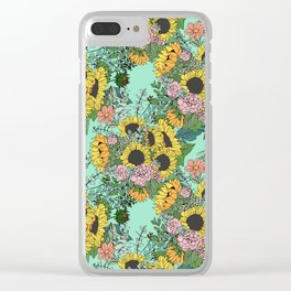 Trendy yellow sunflowers and pink roses mint design Clear iPhone Case