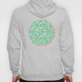 White cyan and yellow Beautiful Wedding Mandala Hoody